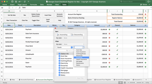 Georges Excel Checkbook for Mac v4.0
