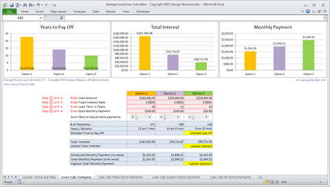 Excel Mortgage Comparison Tool