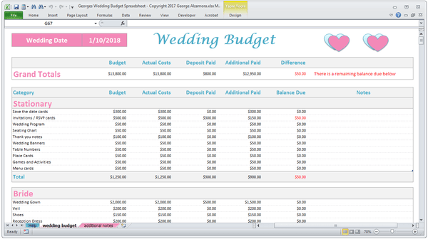 Wedding budget planner software Excel templates
