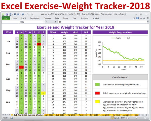 Exercise log weight loss plan year 2018