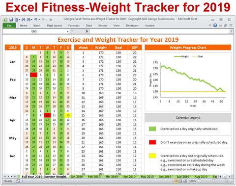 exercise planner weight loss tracker for year 2019 excel template
