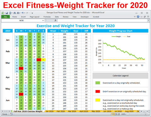 Excel Fitness Tracker - Weight Tracker for Year 2020