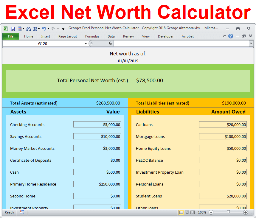 How to calculate net worth Excel template