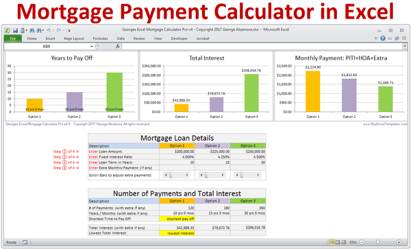 Mortgage Payment Calculator in Excel Templates