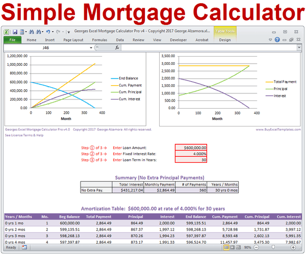 Simple Mortgage Calculator Excel Templates
