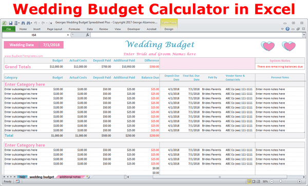 Wedding budget calculator online wedding planner Excel