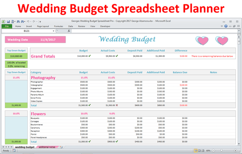 Georges Wedding Budget Spreadsheet Pro v2.0