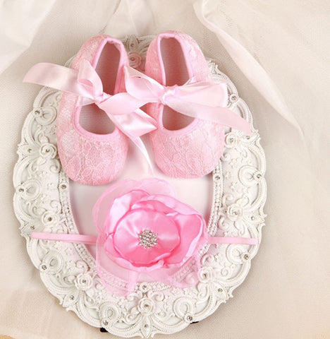 Pikaboo newborn headband baby shoes combo - Baby pink soft net