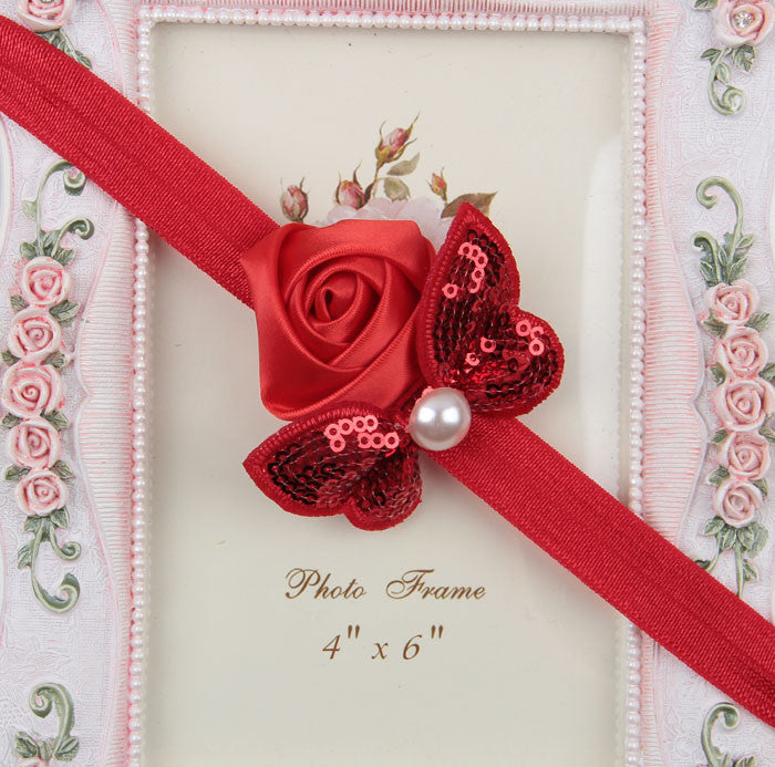 Sequin Bow with Rose Flower Headband - Red