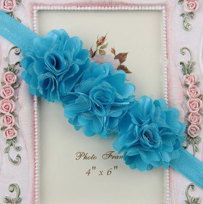 Blossom sequence baby headband - Blue