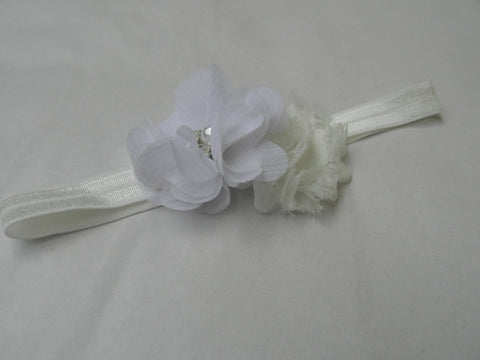 Crystal Flower headband - White