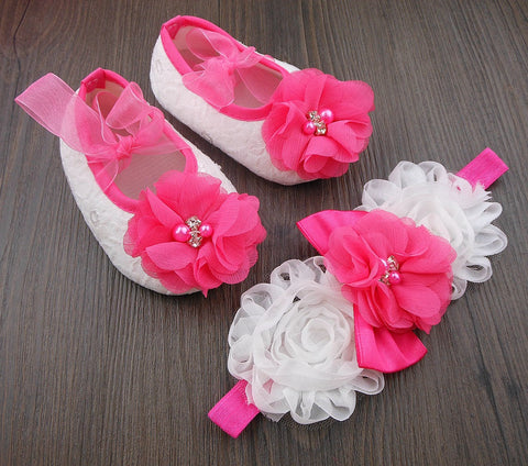 Pikaboo Newborn baby Headband baby Shoes combo - Crystal Flower