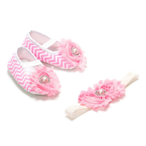Pikaboo Newborn baby Headband baby Shoes combo - Pink Chevron