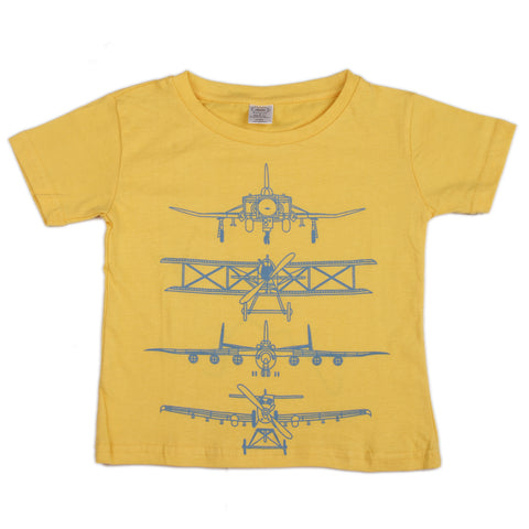 Aircraft printed knitted boys t shirt - Yellow