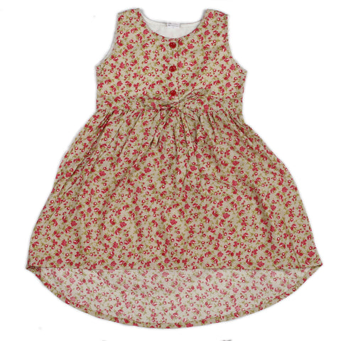 Dark beige floral printed woven hi-low dress for girls