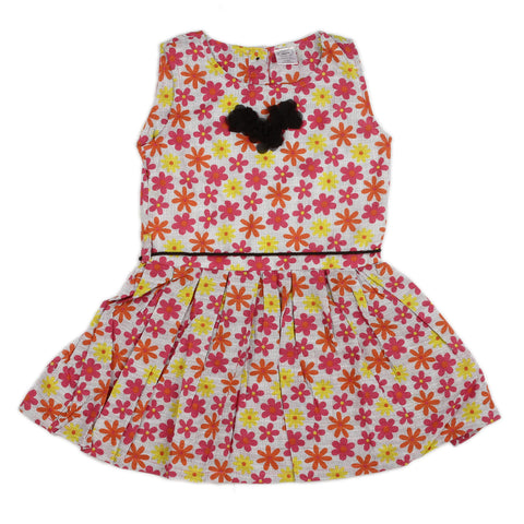 Floral Girls Dress with flower bow at neck & waist belt rope