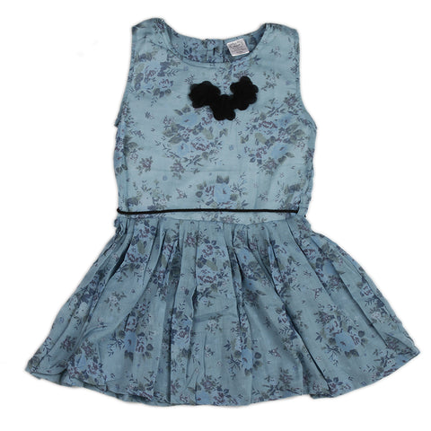 Blue Girls Dress with flower bow at neck & waist belt rope