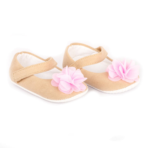Beige velvet shoes with pink flower