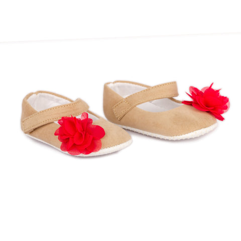 Beige shoes with red flower