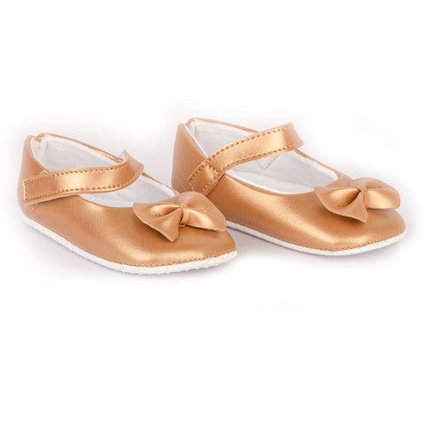 Bronze color shoes with bow