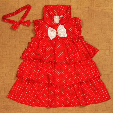 Red Polka Dress with matching headband