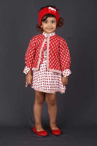 Red and White Small Motif Pinafore