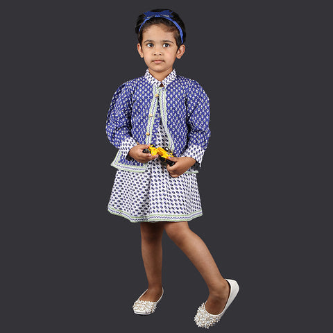 Blue and White Small Motif Pinafore