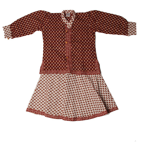 Maroon and White Small Motif Pinafore