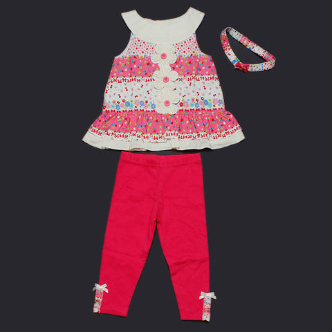 Floral Top and Leggings Set with Headband