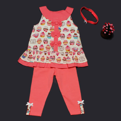 Cupcake Factory Top and Leggings Set with Headband