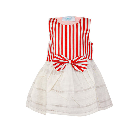 Smart Stripes Dress - Red and White