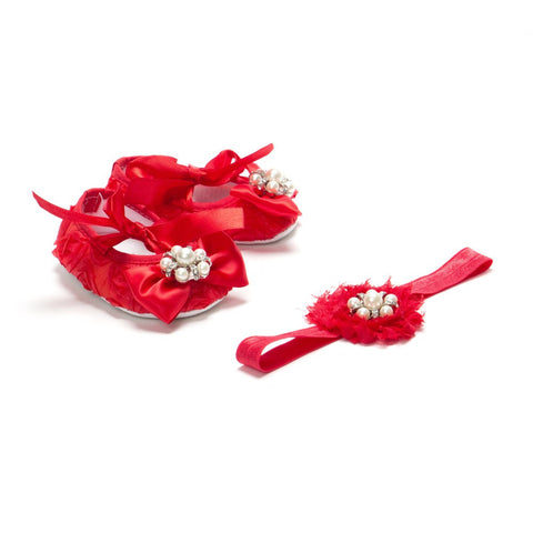 Pikaboo Red Rosette Bow Crib Shoes Headband Combo With Pearls