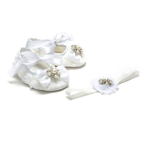 Pikaboo White Rosette Bow Crib Shoes Headband Combo With Pearls