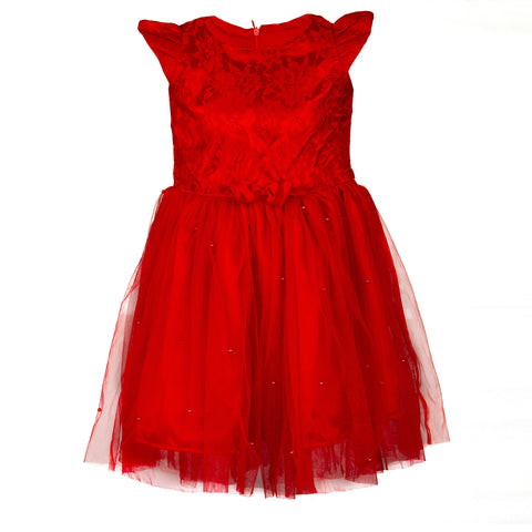 Red beaded net dress