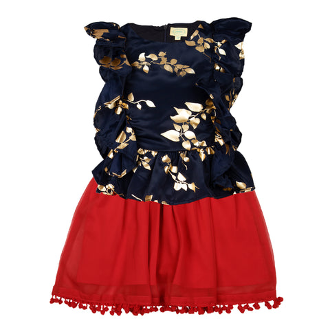 Girls fancy top & Skirt set - Navy & Red