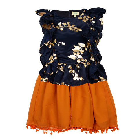 Girls fancy top & Skirt set - Navy & Orange