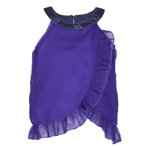 Royal Blue solid sleeveless casual top