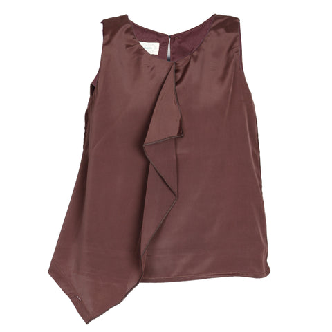 Brown solid sleeveless casual top