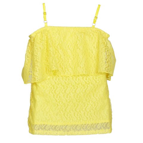 Cold Shoulder Polyester Yellow Lace top