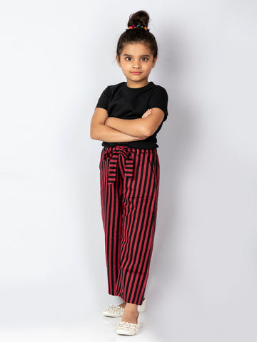 Maroon Striped Culottes with a Black top
