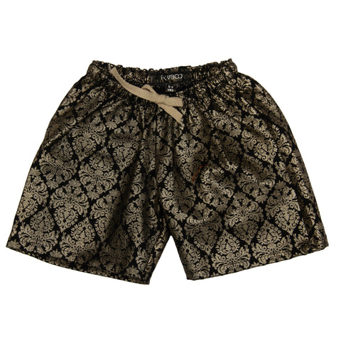 Black base Damask Print Girls Shorts
