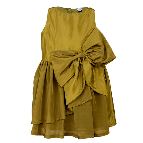 Crepe bow dress - Green