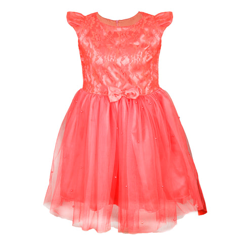 Coral beaded net dress