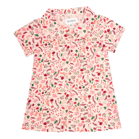 Baby Pink floral printed peter pan collar top