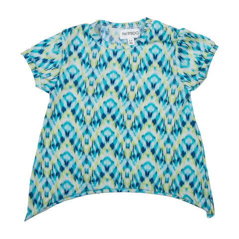 Blue base printed girls top