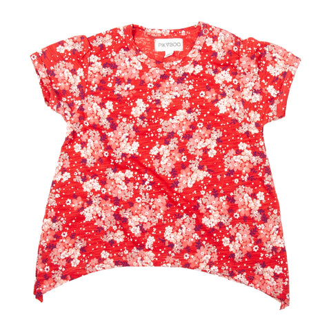 Light Maroon base floral printed girls top