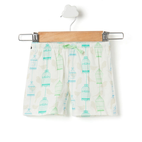 Bird cage printed girls shorts