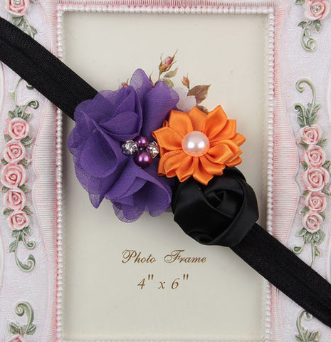 Multicolor flowers headband - Orange Black