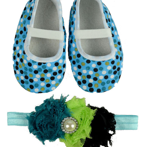 Pikaboo Newborn baby Headband baby Shoes combo - polka blue