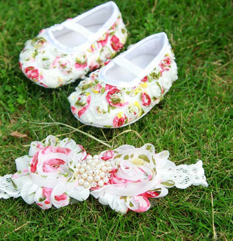 Pikaboo Newborn baby Headband baby Shoes combo - Multi Rose pearls